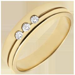 خاتم زواج ثلاثي أولمپيا ـ نموذج متوسط ـ الذهب الأصفر 9 قيراط