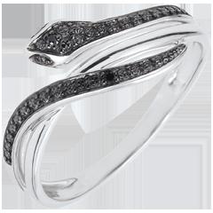 خاتم نزهة سحرية ـ ثعبان فاتن ـ من الذهب الأبيض 9 قيراط والألماس الأسود