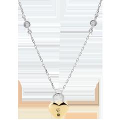 عقد السر الثمين ـ قلب ـ الذهب الأبيض والذهب الأصفر 9 قيراط