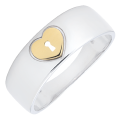 خاتم السر الثمين ـ قلب ـ من الذهب الأبيض و الذهب الأصفر 9 قيراط