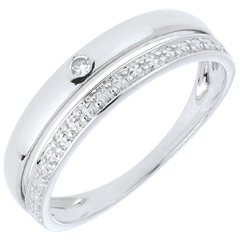 خاتم زواج كوكيت من الذهب الأبيض 9 قيراط