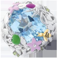 خاتم نزهة سحرية ـ الفردوس الأزرق ـ الفضة والأحجار الكريمة