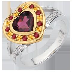خاتم قلب رودوليت - الفضة والألماس والأحجار الكريمة