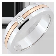 Alianza Estrella Diamante - Pequeño modelo - oro blanco y oro rosa 9 quilates