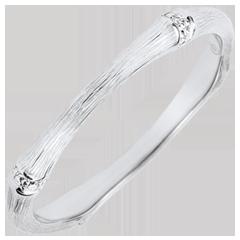 Alianza jungla Sagrada - Multidiamantes 2 mm - Oro blanco rugoso 9 quilates