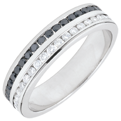 Alianza oro blanco diamantes y diamantes negros semi pavimentada - engaste de carril 2 filas - 0.32 quilates - 32 diamantes