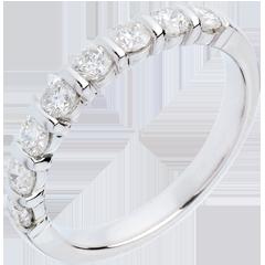 Alianza oro blanco semi empedrado - engaste pasador - 0.65 quilates - 8 diamantes