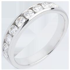 Alianza oro blanco semi empedrado - engaste raíl - 0.5 quilates - 11 diamantes