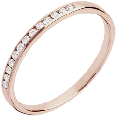 Alianza oro rosa semi empedrado - engaste raíl - 13 diamantes