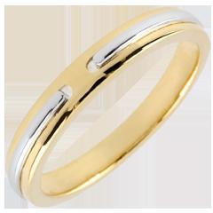 Alianza Promesa - oro amarillo y blanco 9 quilates - pequeño modelo