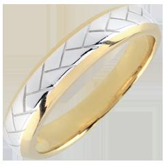 Alianza Tissage - oro blanco y amarillo 9 quilates