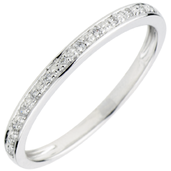 Alliance Eclats de diamant - or blanc et diamants - demi-tour
