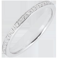 Alliance Eclats de diamant - tour complet - or blanc 9 carats et diamants