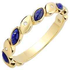 Alliance Félicité - Lapis Lazulis et diamants - Or jaune 9 carats