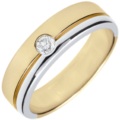Alliance Olympia Diamant - Grand modèle - bicolore - or blanc et or jaune 9 carats