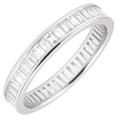 Alliance or blanc 18 carats pavée - serti rail - 1.22 carats - diamants baguettes - Tour complet