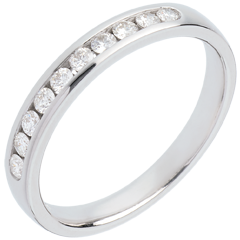 Alliance or blanc 18 carats semi pavée - serti rail - 0.25 carats - 10 diamants