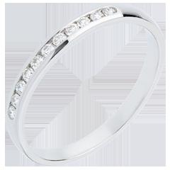 Alliance or blanc 18 carats semi pavée - serti rail - 11 diamants