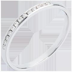 Alliance or blanc 18 carats semi pavée - serti rail - 13 diamants