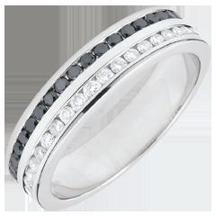 Alliance or blanc diamants blancs et noirs semi pavée - serti rail 2 rangs - 0.32 carats - 32 diamants - 18 carats