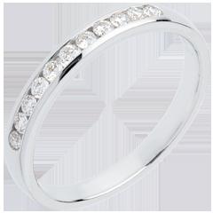 Alliance or blanc semi pavée - serti rail - 11 diamants : 0.2 carats