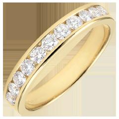 Alliance or jaune 18 carats semi pavée - serti rail - 0.5 carat - 11 diamants
