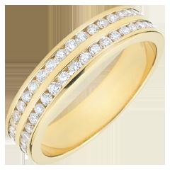 Alliance or jaune 9 carats semi pavée - serti rail 2 rangs - 0.32 carats - 32 diamants