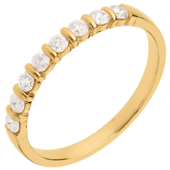 Alliance or jaune semi pavée - serti barrettes - 0.3 carats - 8 diamants