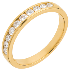Alliance or jaune semi pavée - serti rail - 0.3 carats - 10 diamants