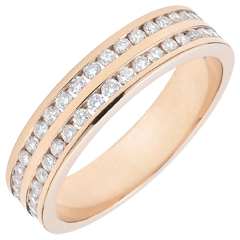 Alliance or rose 9 carats semi pavée - serti rail 2 rangs - 0.32 carats - 32 diamants