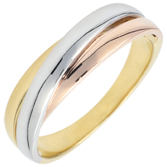 Alliance Saturne Diamant - tout or - trois ors 18 carats