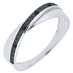 Alliance Saturne Duo - diamants - diamants noirs - or blanc 18 carats