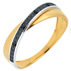 Alliance Saturne Duo - diamants noirs - or blanc et or jaune 9 carats