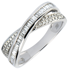 Alliance Saturne - Duo Diamants - or blanc 18 carats et diamants