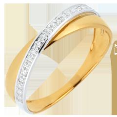 Alliance Saturne Duo - diamants - or jaune et or blanc - 18 carats
