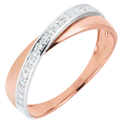 Alliance Saturne Duo - diamants - or rose et or blanc - 18 carats