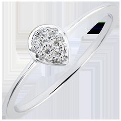 Anello Abbondanza - Goccia Preziosa - oro bianco 9 carati e diamanti