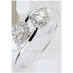 Anello Abbondanza - Tu & Io Diamanti Goccia - oro bianco 9 carati e diamanti