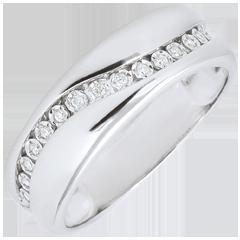 Anello Amore- Multi diamanti - Oro bianco - 9 carati