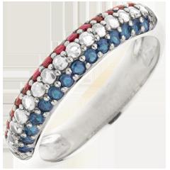 Anello Bandiera francese - Oro bianco - 9 carati - 15 Diamanti - 14 Zaffiri - 14 Rubini - 0.86 carati