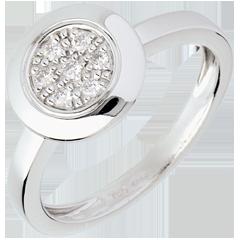 Anello Bottone - Oro bianco - 18 carati - Diamante - 0.11 carati