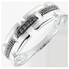 Anello Chiaroscuro - Via Segreta - Oro bianco - 18 carati - Diamanti neri - modello piccolo