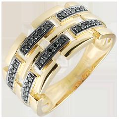 Anello Chiaroscuro -Via Segreta - Oro giallo - 18 carati - Diamanti neri - 0.15 carati -modello grande