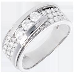 Anello Costellazione - Trilogia pavé variazione - Oro bianco - 18 carati - 35 diamanti - 0.86 carati