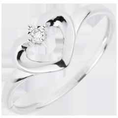 Anello Cuore Carino - Oro bianco - 18 carati - Diamante