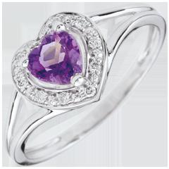 Anello Cuore Incantato - Oro bianco - 9 carati - 10 Diamanti - Ametista - 0.41 carati