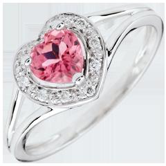 Anello Cuore Incantato - Oro bianco - 9 carati - 10 Diamanti - tormalina rosa