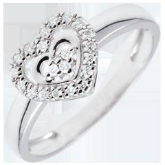 Anello Cuore Parigi - Oro bianco - 18 carati - 21 Diamanti