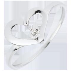 Anello Cuore Prezioso - Oro bianco - 18 carati - 1 Diamante