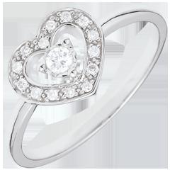 Anello Cuore Tiphanie - Oro bianco - 18 carati - 15 Diamanti - 0.10 carati